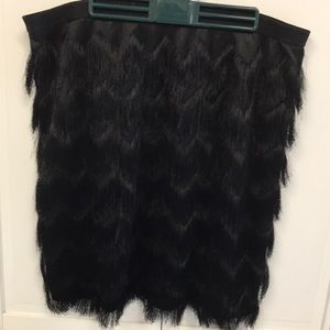 Ann Taylor Black Fringe Skirt
